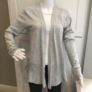 hing ruffle hemmed cardigan. Size L heather gray